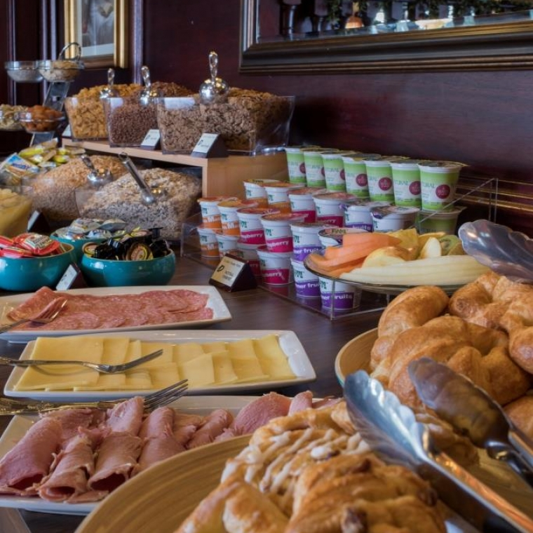 A close up of the breakfast buffet selection